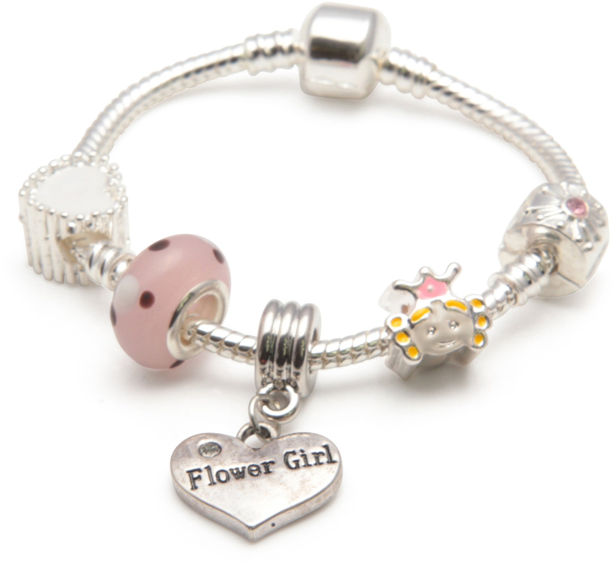 Liberty Charms Childrens Pink Happy 4th Birthday Silver Plated Charm Bead Bracelet with Gift Box