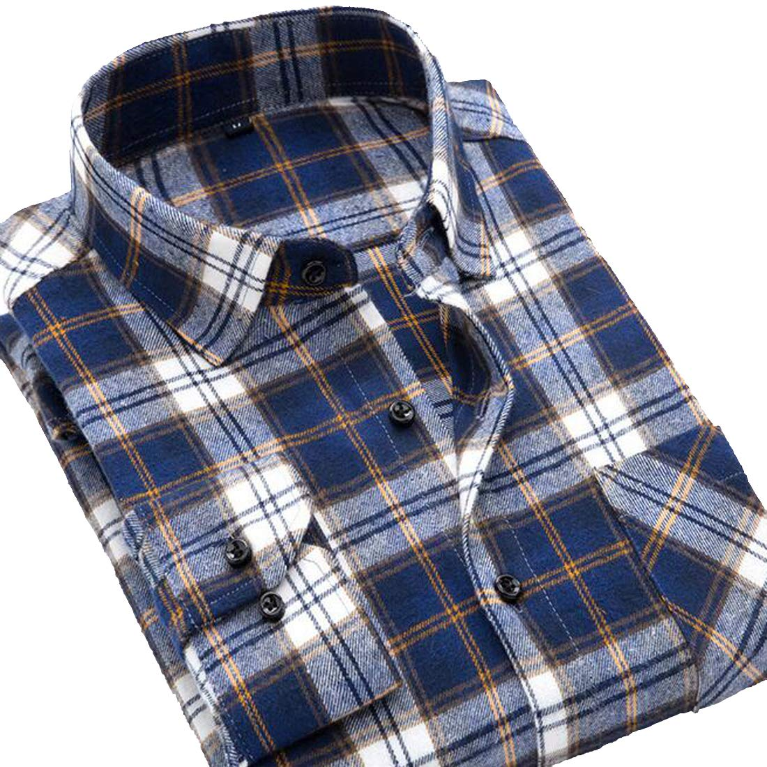 Lutratocro Mens Fashion Long Sleeve Cotton Button Down Plaid Flannel Shirt