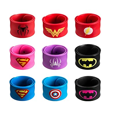DeDeSoon Superhero Slap Bracelet, Slap Bracelet for Kids Boys & Girls Birthday Party Supplies Favors (9 in Pack): Toys & Games