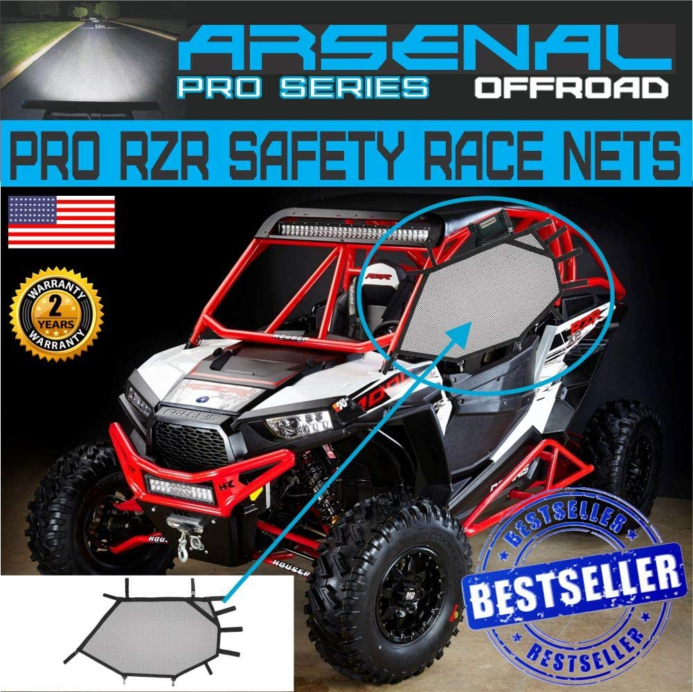 Arsenal RZR Window Race Net,Kit UTV Roll Cage Driver and Passenger Front Mesh Guard and Rear Roll Cage Shade Shield Cover Net Fits 3 PC Kit RZR 570 800 S 800 900