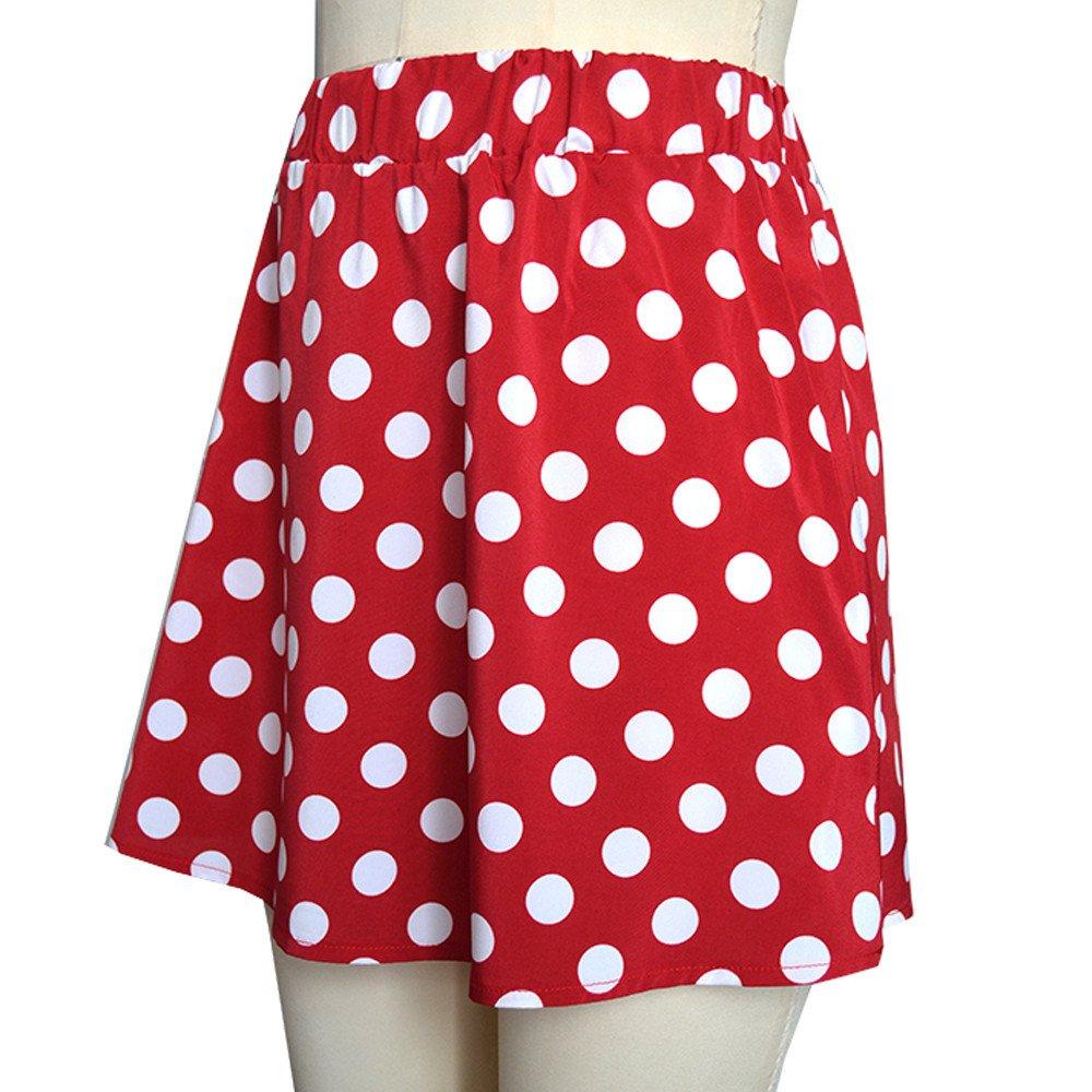 Women's Basic Versatile Stretchy Flared Casual Mini Skater Skirt Soft Polka Dot Printed Street Skirt Summer Skirt(Red, M) by Threecows (Image #3)