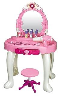 Brigamo 531–Tavolino da toletta giocattolo, con specchio da trucco e asciugacapelli funzionante