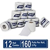 Kleenex Premium Bathroom Tissue, 2 Ply, 160 Soft Pulls per Roll, 12 Rolls, 60049 By Kimberly Clark