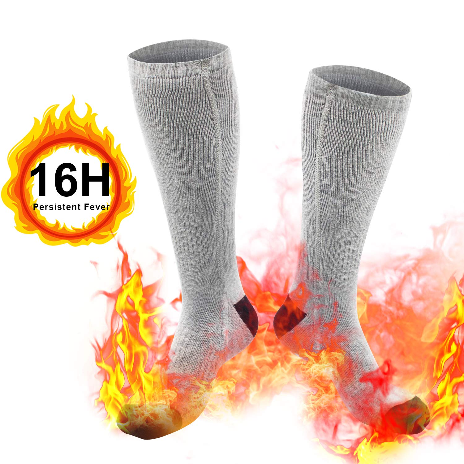 weird tails Heated Socks, Upgraded Electric Rechargeable Battery Heating Socks for Men Women, 7.3V 4800mAh Battery Powered Cold Weather Heat Socks Long Lasting Safe Warmers, Up to 16 Hours of Heat by weird tails