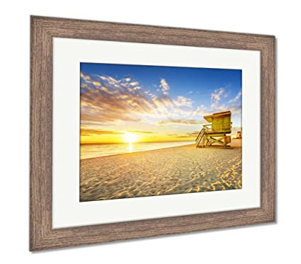 Amazon.com: Ashley Framed Prints Miami South Beach Sunrise, Wall Art ...