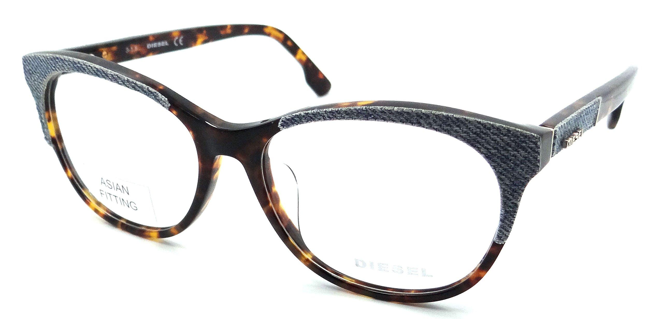 Diesel Rx Eyeglasses Frames DL5155-F 053 56-15-145 Blue Denim /Havana Asian Fit
