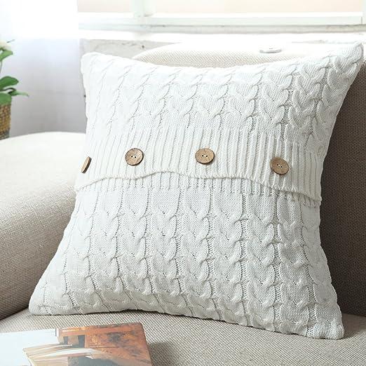 isunshine® algodón de punto funda de cojín (diseño de botón ...
