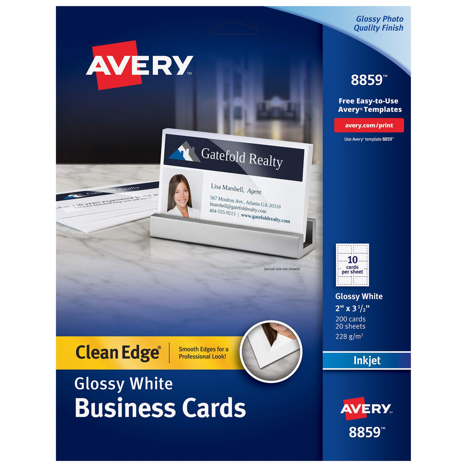 Avery Printable Business Cards, Inkjet Printers, 200 Cards, 2 x 3.5, Clean Edge, Heavyweight, Glossy (8859)
