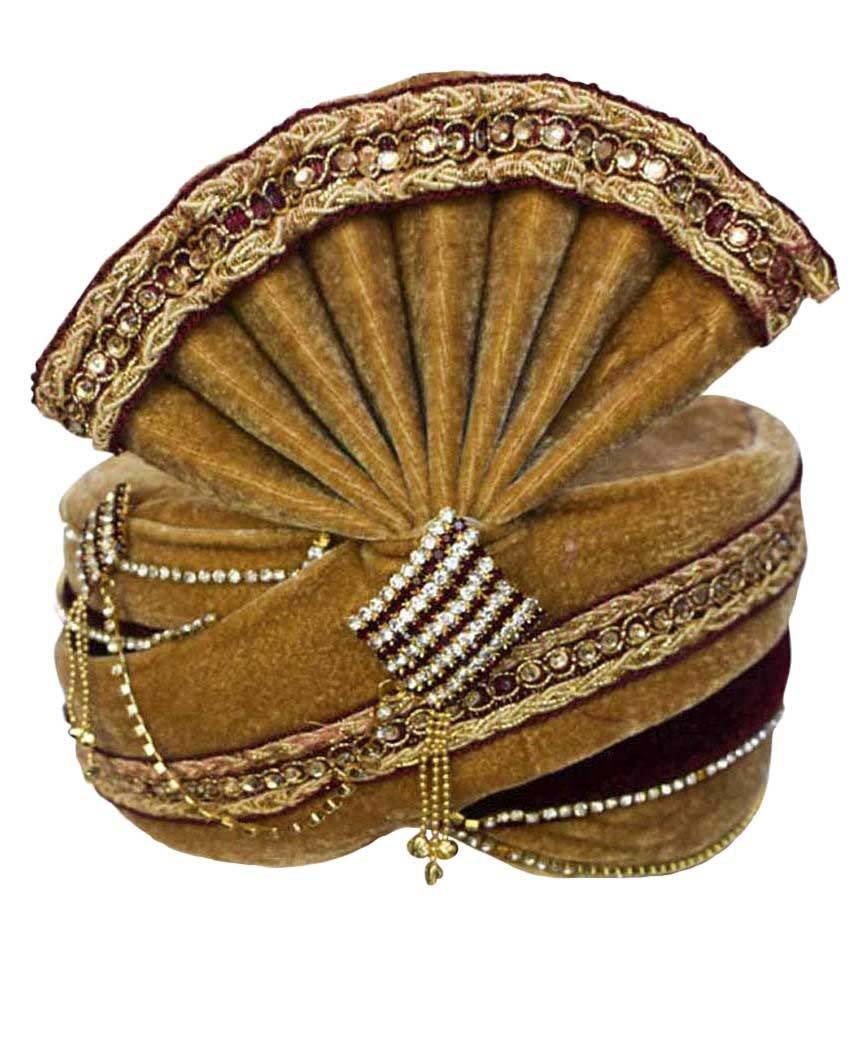 INMONARCH Mens Traditional Wedding Turban Pagari Safa Groom Hats TU1087 22-inch Brown
