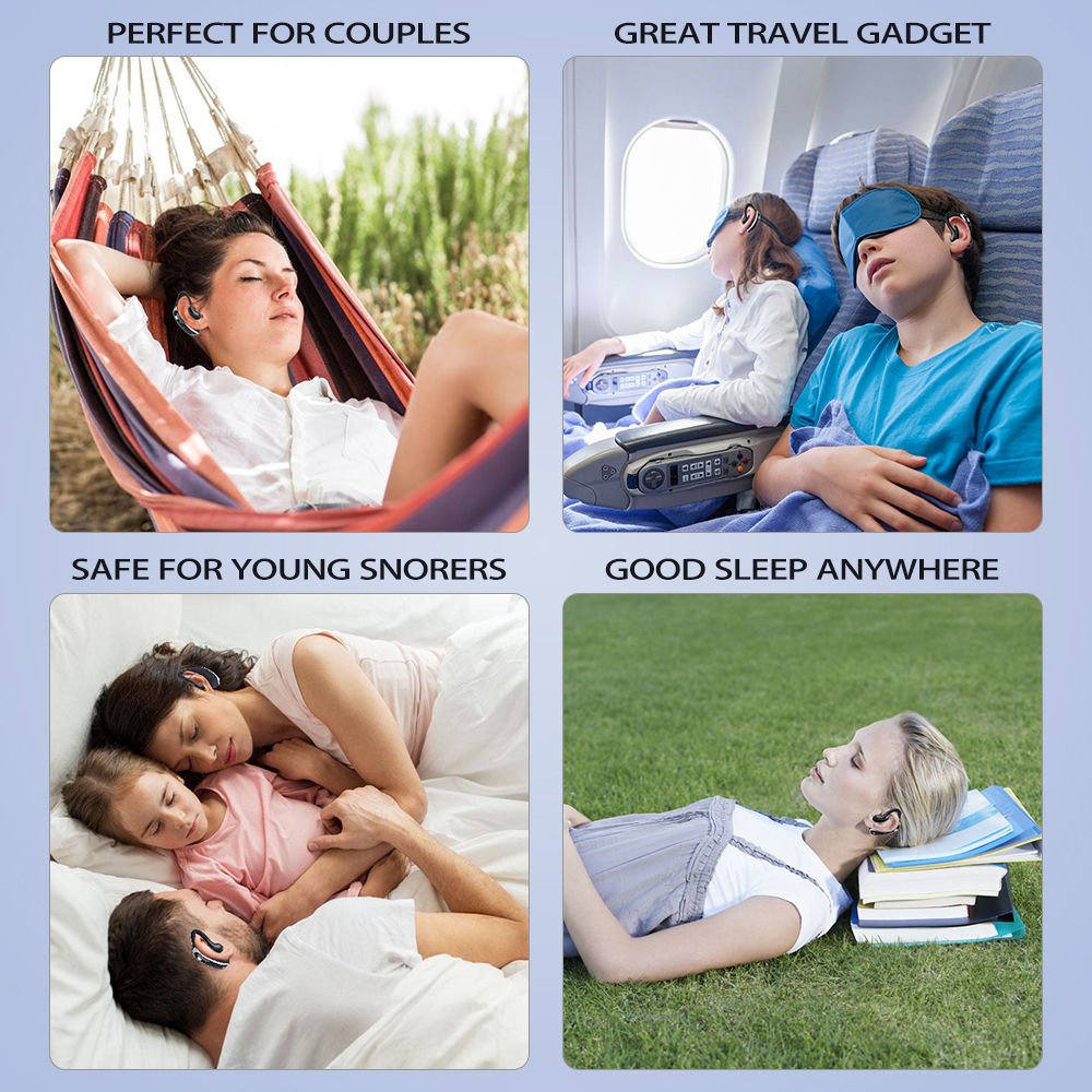 Snore Circle Smart Snore Stopper Bluetooth Earphone Style Anti Snoring Devices for Sleep Disorders, Fits Easily and Discreetly