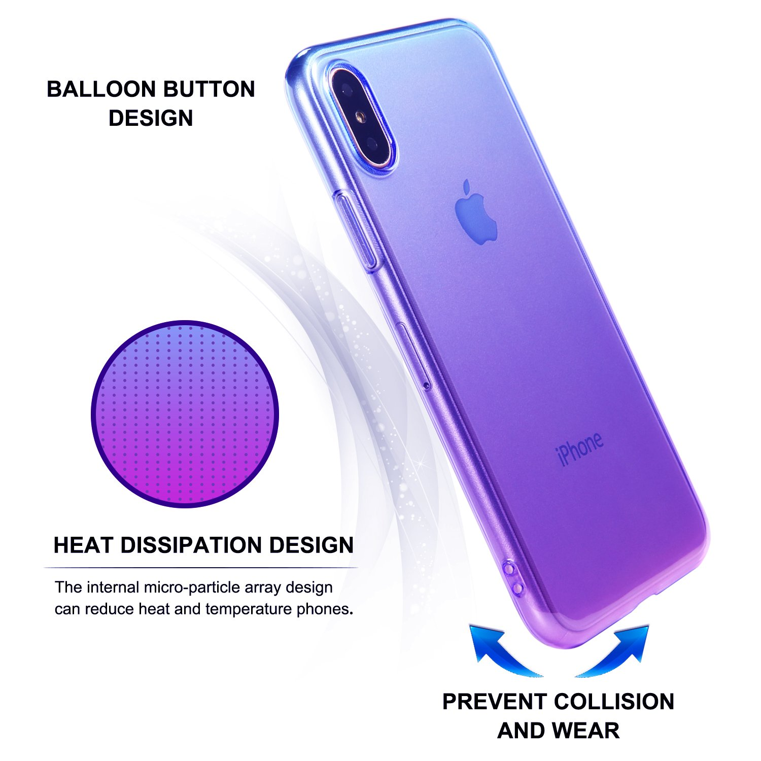 iPhone X Case, CLONG iPhone X Case Cover Gradual Colorful Clear Shell Flexible TPU Slim Bumper Case for Apple iPhone X (2017) 5.8inch (Blue Purple)
