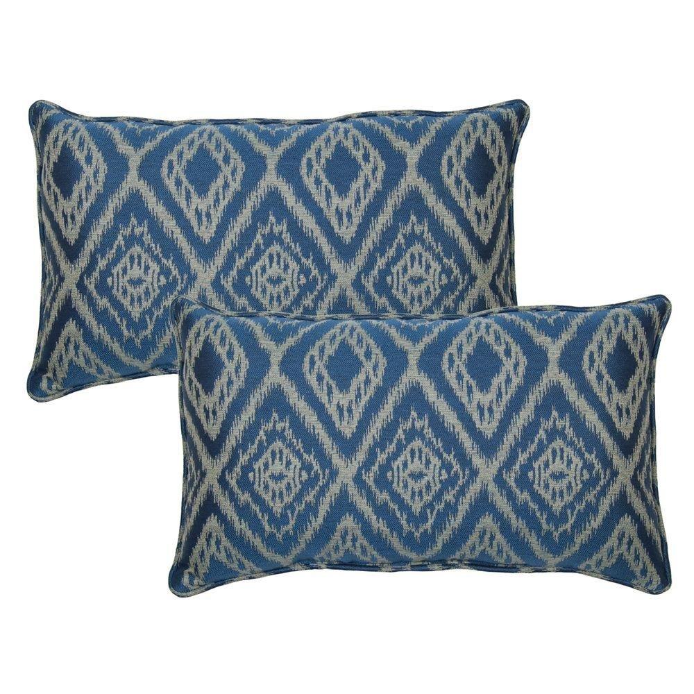 Ikat Spa Outdoor Lumbar Pillow with Welt (2 Pack)