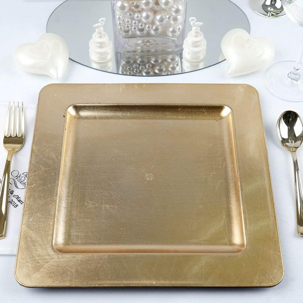 Efavormart 6pcs 11.5'' x 11.5'' Gold Square Rimmed Charger Plates for Tabletop Decor