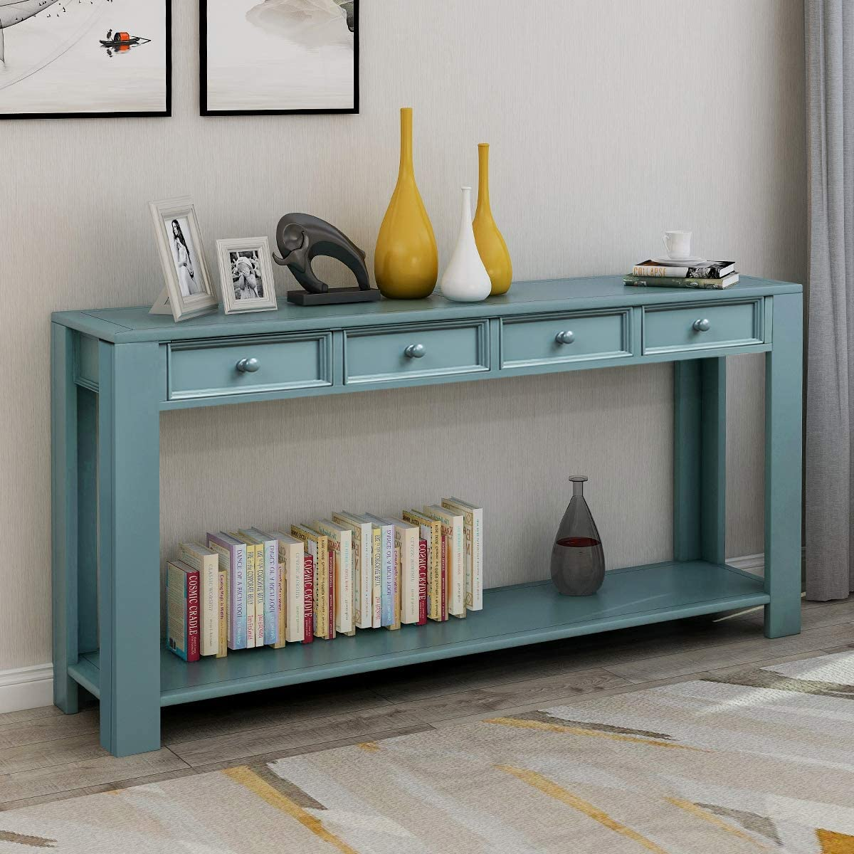 GLCHQ Multifunctional Retro Console Table Four Drawers and Bottom Shelf Sofa Table for Entryway hallways, Living Room Dark Blue