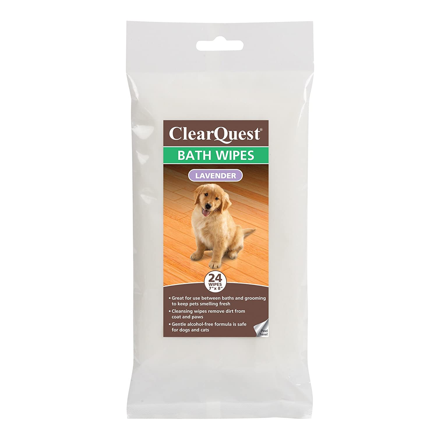 ClearQuest Bath Wipes Alcohol-Free Wipes for Cleaning and Deodorizing Dogs and Cats Between Baths Lavender, 24-Pack
