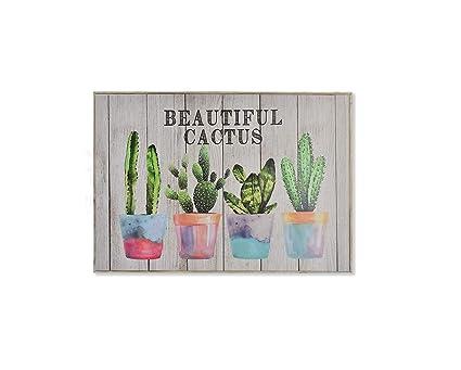Dream Hogar Tapa de Contador de luz Cubre Cuadros electricos Beautiful Cactus Madera 46x32x7 cm