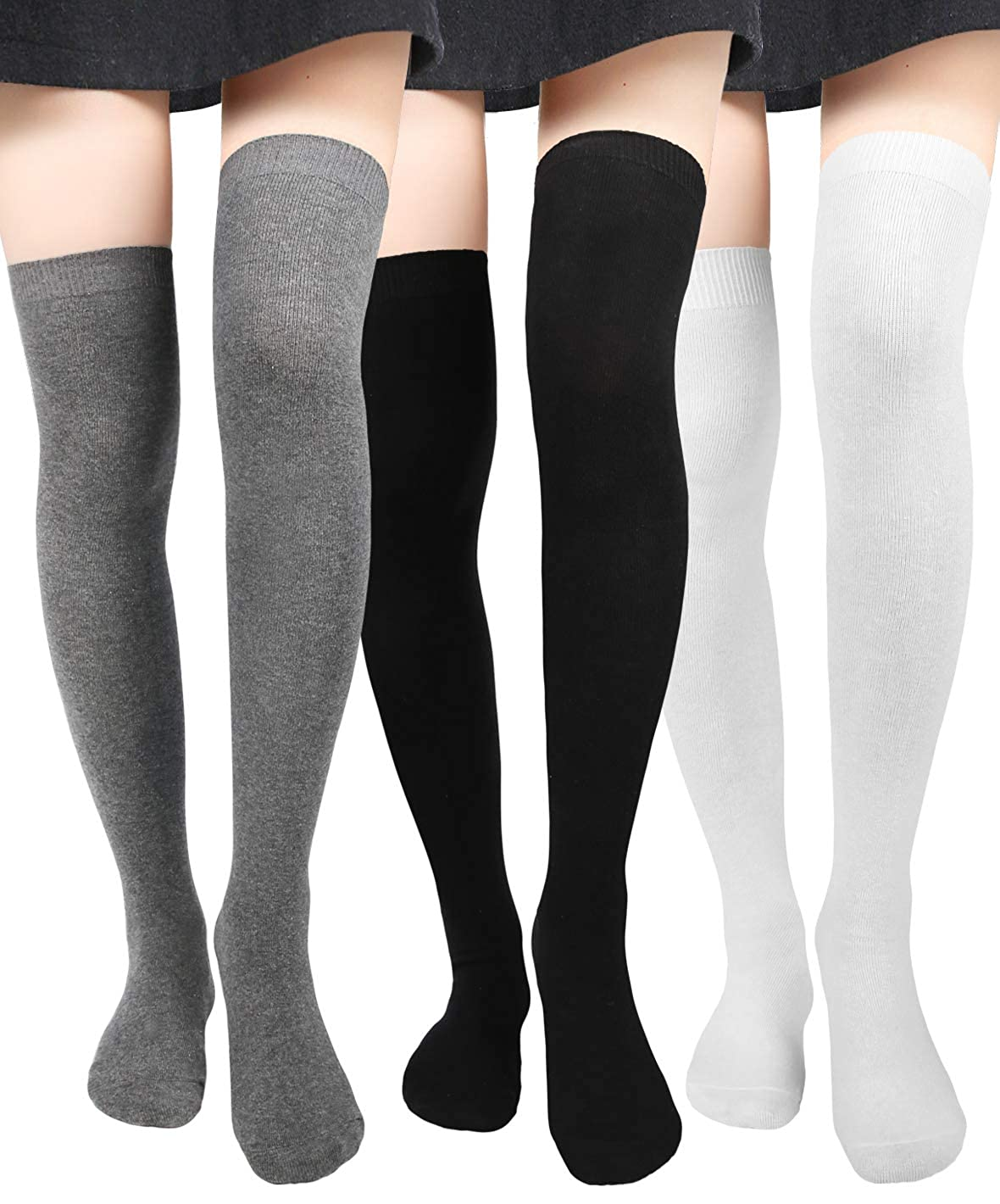 cc1769f79 Thigh High Socks for Women Girls Over the Knee Stockings Long Tall Cotton  Thin Leg Warmers