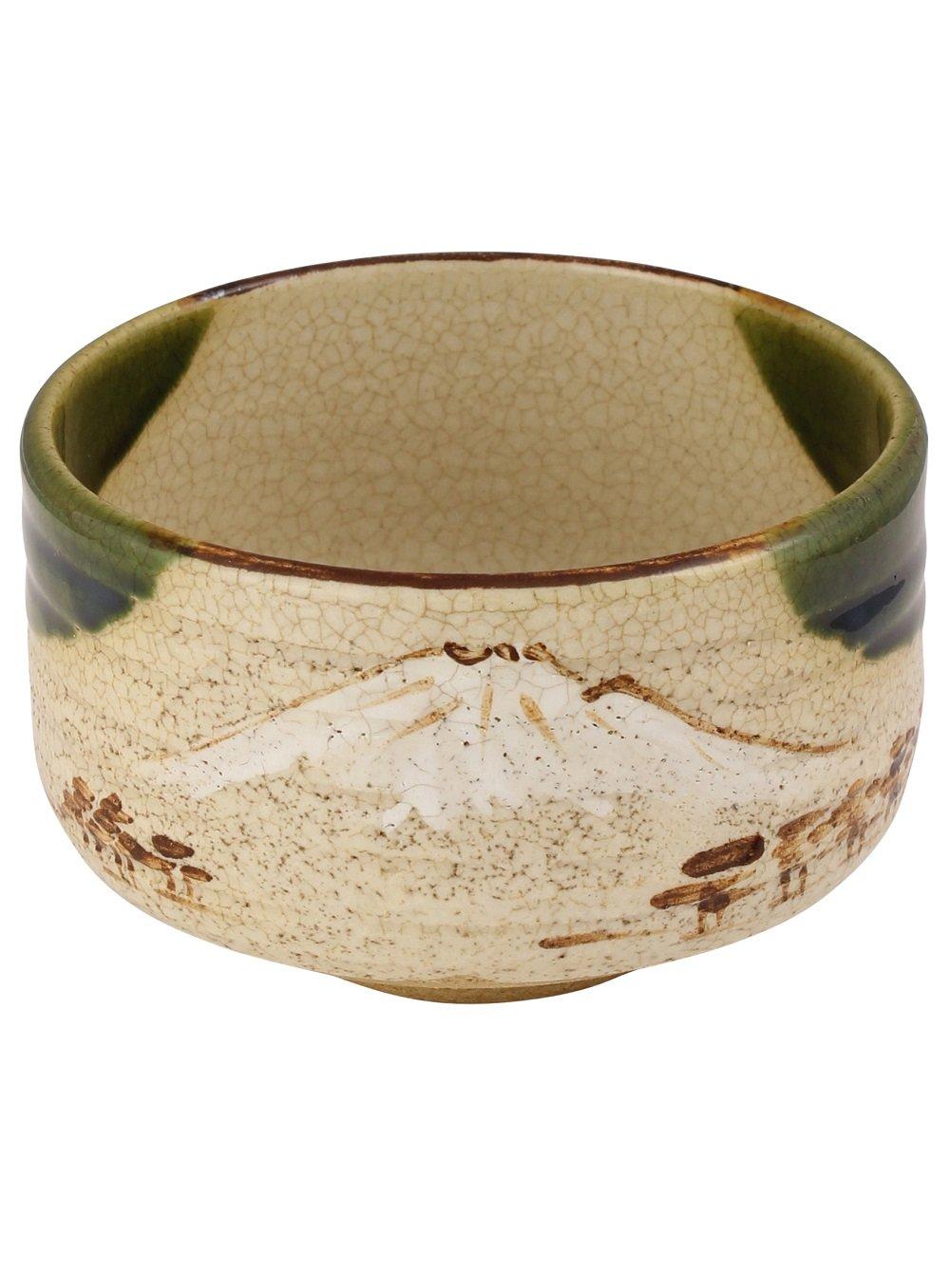 DOCTOR KING Artisan Japanese Matcha Bowl | Chawan | Mino-Yaki (Oribe Ware) | Made in Japan | Light Brown with White Mountain