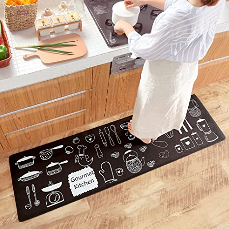 Ustide Classic Anti Fatigue Kitchen Comfort Chef Floor Mat 17 7 X59 Linen Cardinal Stain Resistant Surface With 0 4cm Thickness Gel Core For Health