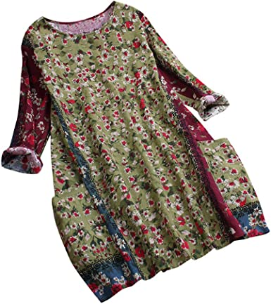 UK Womens Long Sleeve Floral Printed Casual Loose Baggy Cotton Linen Shirt Dress