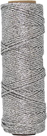 Just Artifacts Eco Metallic Bakers Twine 55yd 11 Ply Solid Silver Decorative Bakers Twine for DIY Crafts and Gift Wrapping