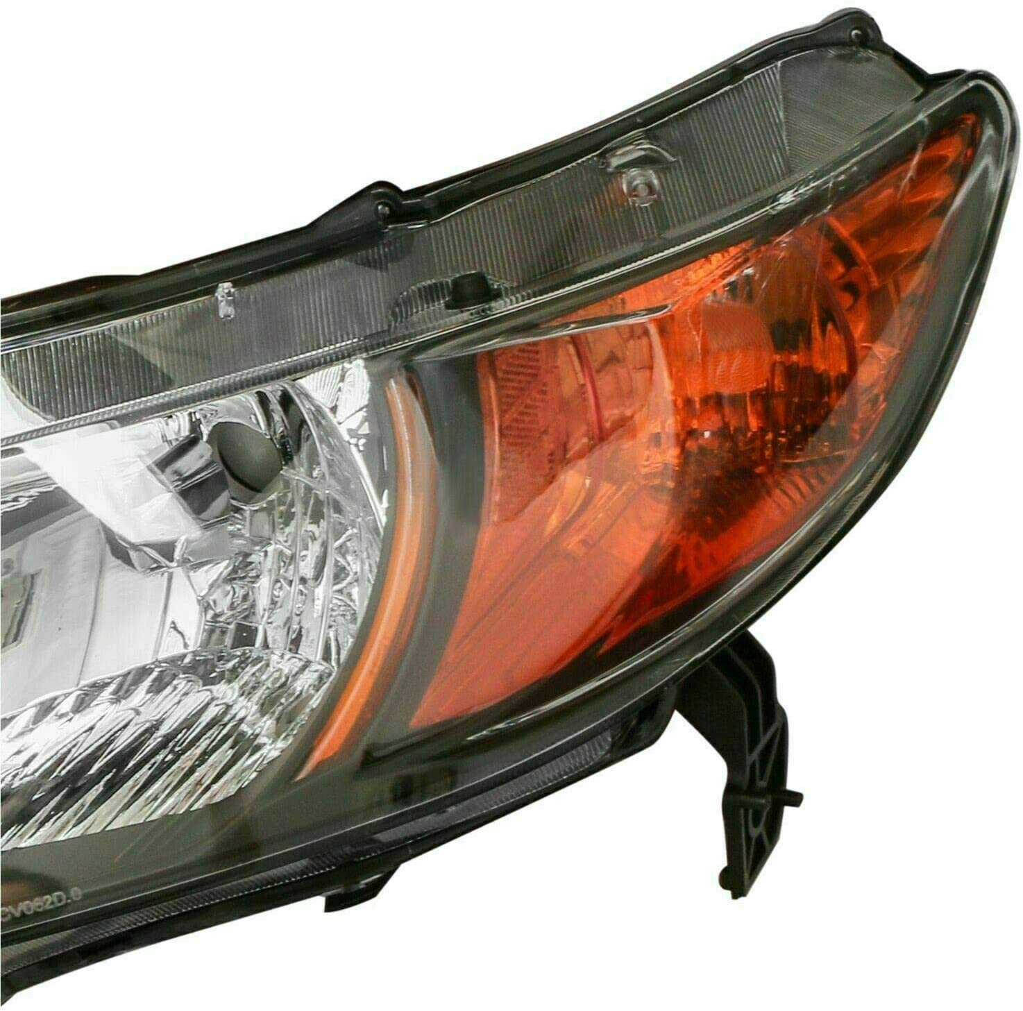 Set of 2 MOSTPLUS Headlight Assembly Compatible with 2006 2007 2008 2009 2010 2011 Honda Civic Coupe 2 Door Black Housing with Amber Reflector Front Lamp