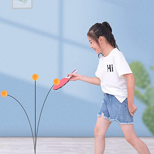 Winthai 7PCS Ping Pong Table Tennis Trainer Equipo de Entrenamiento Kit con Bolas de Eje de 90 cm Base Varillas de elevaci/ón para ni/ños Adultos Juego al Aire Libre en Interiores