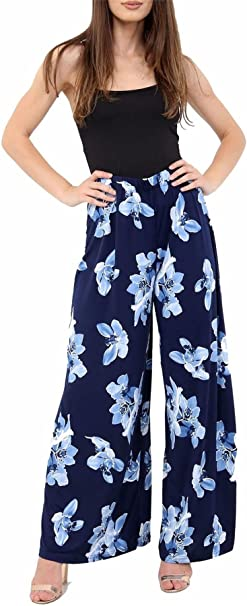 Womens Plus Size Floral Lotus Print Flared Wide Leg Pants Palazzo Trousers 12-26