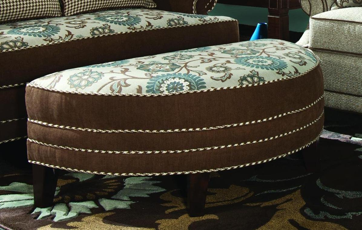 Chelsea Home Furniture Corrina Half Moon Ottoman, Voyager Cobblestone/Brown Eyed Girl