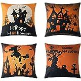MIULEE Set di 4 Cuscino Stampato Lino Halloween Federe Decorativo Quadrato Federe Cuscino Set Custod