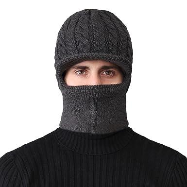 Roffatide Winter Warm Beanie Knitting Hat Scarf Neck Warmer Set for Men and  Women Dark Gray e3b75328b476