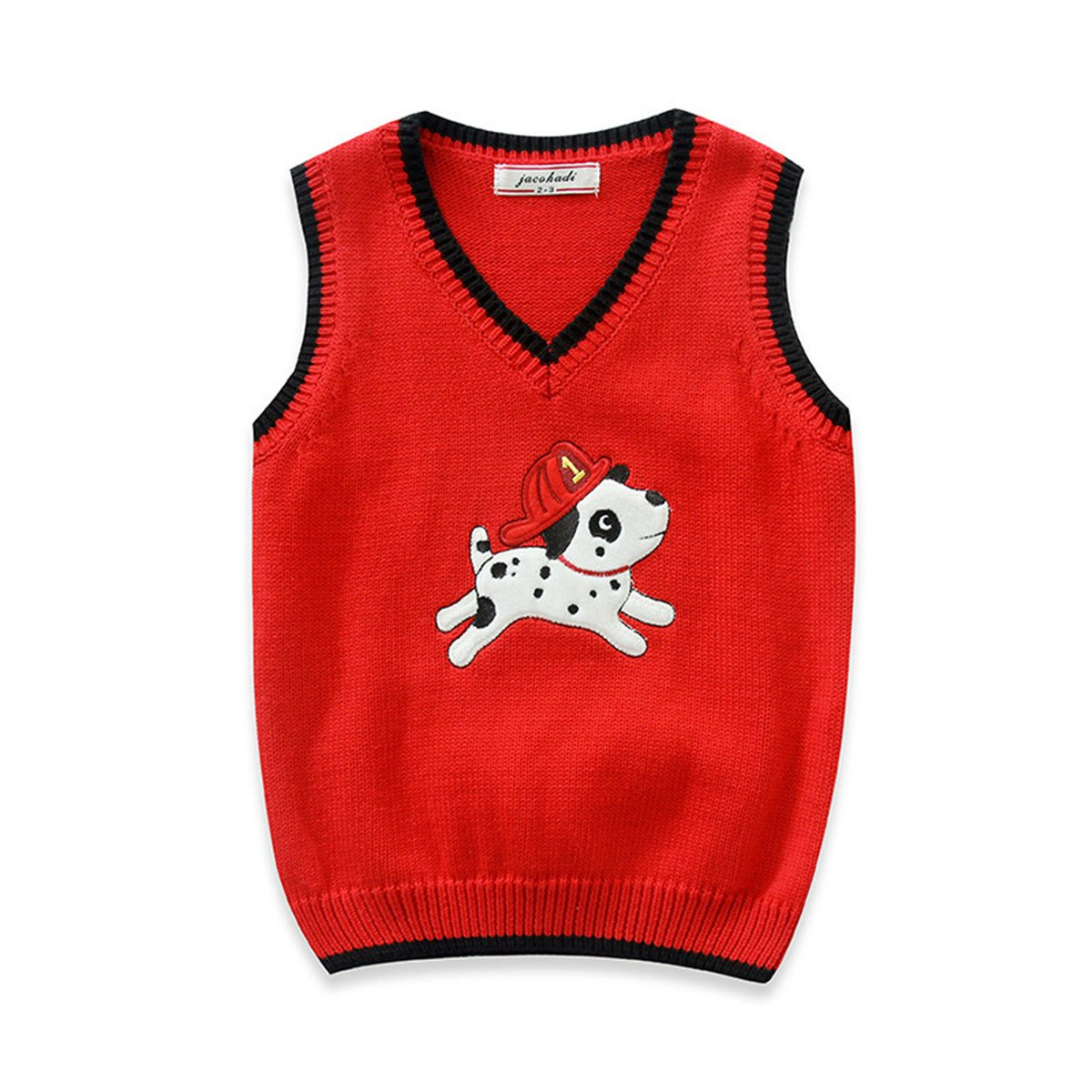 JELEUON Toddler Kids Baby Unisex V- Neck Cute Dog Print Knitted Vest Sweater Pullover VcDEDDsni6