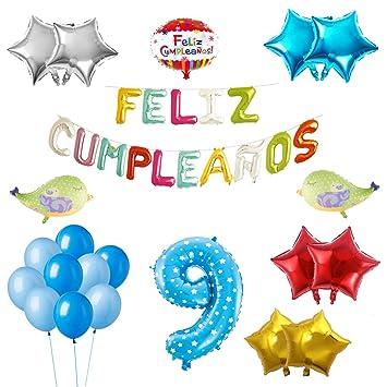 COTIGO-Globos Feliz Cumpleaños Happy Birthday Fiesta Party Docoración para Niños 108 Piezas Globo Látex Azul Color Azul Años 9