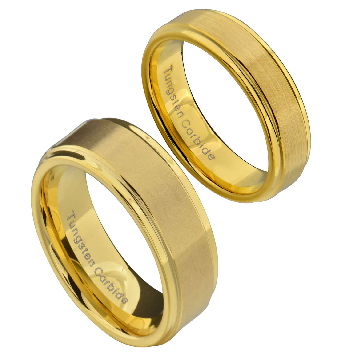 FlameReflection Tungsten His & Hers Wedding Ring Sets Gold Plated Brushed Top Polished Step Edge Comfort Fit 6&8mm