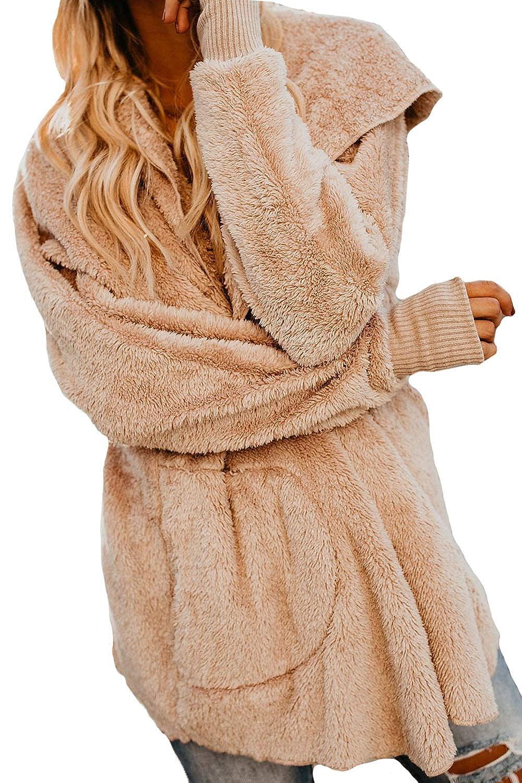 Assivia Womens Fuzzy Open Front Hooded Cardigan Coat Jacket Outwear Pockets