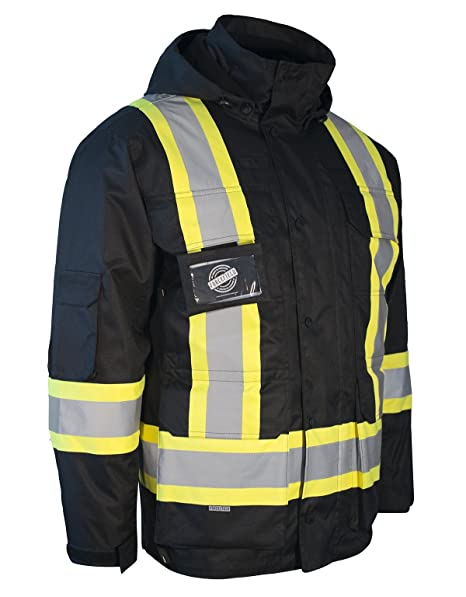 b1f64e1e2 3-in-1 Hi Vis Winter Safety Parka with Removable Black Nylon Puff Jacket