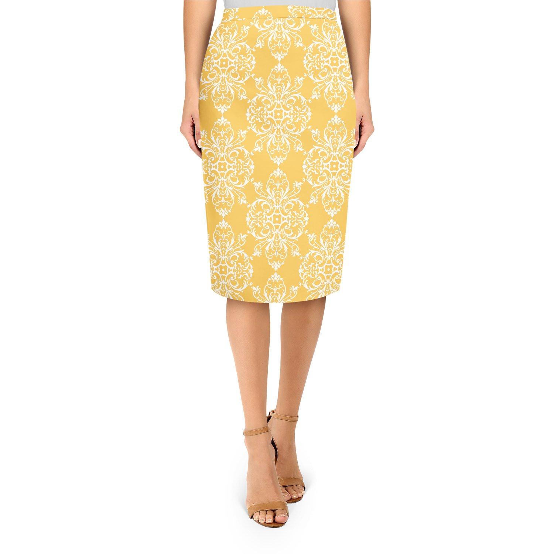 Yellow Retro Damask Midi Pencil Skirt