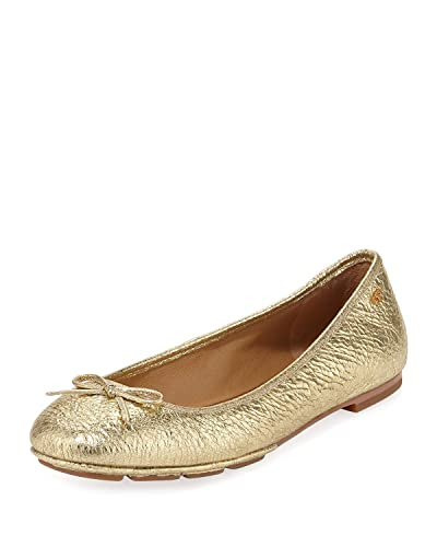 22a1ff2303d53b Image Unavailable. Image not available for. Color  Tory Burch Laila 2  Driver Ballet Flats Crinkle Metallic Spark Gold