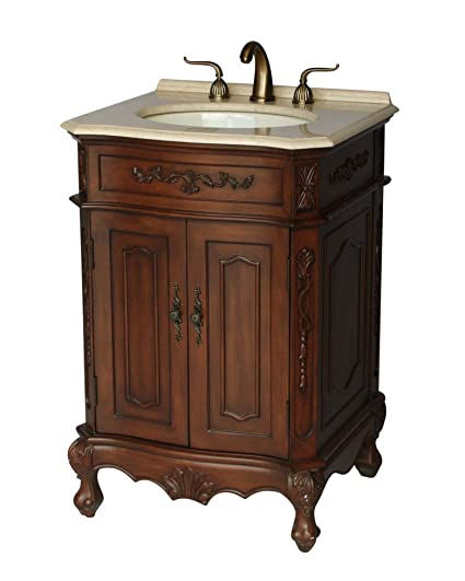 24-Inch Antique Style Single Sink Bathroom Vanity Model 1905-24 BE - 24-Inch Antique Style Single Sink Bathroom Vanity Model 1905-24 BE