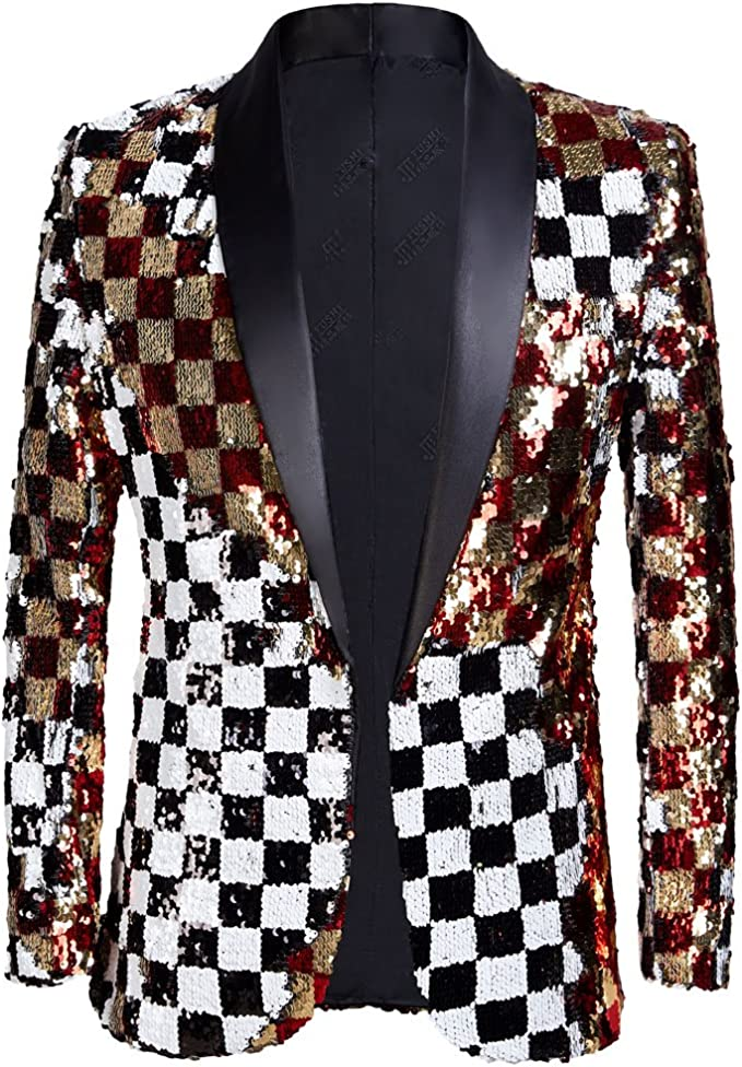 PYJTRL Mens Fashion Double-Side Color Red Gold Black White Plaid Sequins Blazer Suit Jacket