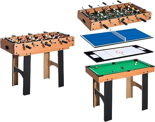 HOMCOM Mesa Multijuegos 4 en 1 Incluye Futbolín Air Hockey Ping ...