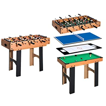 Homcom Mesa Multijuegos 4 En 1 Incluye Futbolin Air Hockey Ping Pong