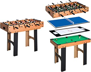HOMCOM Mesa Multijuegos 4 en 1 Incluye Futbolín Air Hockey Ping ...