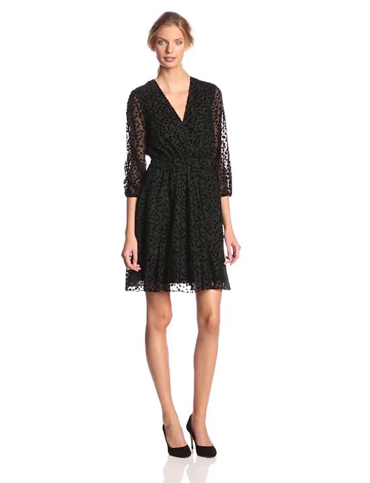 Ali Ro Women's Long Sleeve Blouson Polka Dot Dress, Black, 6