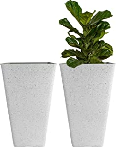 """LA JOLIE MUSE Large Outdoor Tall Planters - 20"""" Indoor Square Plant Tree Planters with Drainage, Set of 2, Speckled White"""