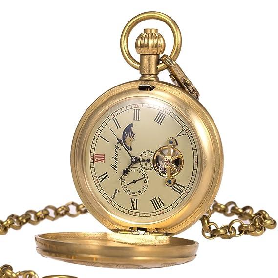Reloj de bolsillo - Cobre puro Caso ManChDa Vendimia Grabado Steampunk Tren a vapor Ferrocarril Luna