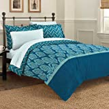 Discoveries Contemporary Elegant Peacock Comforter Set, Queen, Blue