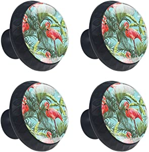 Flamingos Palm Leaves Drawer Knob Pull Handle Cupboard Knobs 4pcs Round Cabinet Handle Furniture Knobs with Screws for Home Office Kitchen Dresser Wardrobe Decorate