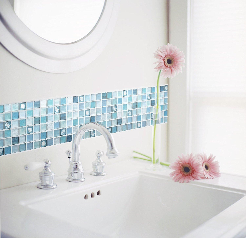 【 Dream Sticker 】 モザイクタイルシール キッチン 洗面所 トイレの模様替えに最適のDIY 壁紙デコレーション ALT-4 ブルー Blue 【 自作アートインテリア / ウォールステッカー 】 貼り方説明書付属 (1枚) B01FUL3IH0 1枚 1枚