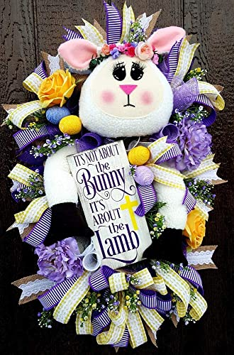 Amazon Com Easter Lamb Wreath Religious Mesh Wreath Religious